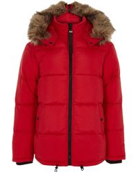 River Island - Big And Tall Red Hooded Puffer Jacket - Lyst
