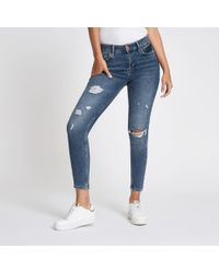 River Island - Mid Amelie Distressed Super Skinny Jeans - Lyst