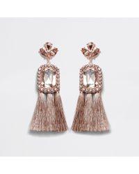 River Island - Rose Gold Tone Jewel Tassel Drop Earrings Rose Gold Tone Jewel Tassel Drop Earrings - Lyst