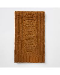 River Island - Cable Knit Scarf - Lyst