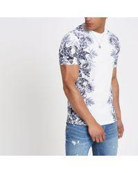 River Island - Floral Slim Fit T-shirt - Lyst