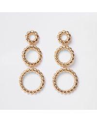 River Island - Gold Tone Triple Twist Hoop Earrings - Lyst