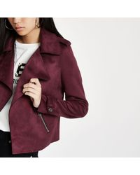 River Island - Dark Red Faux Suede Cropped Trench Jacket - Lyst