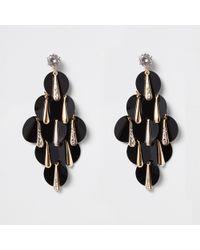 River Island - Tone Black Sequin Layered Earrings - Lyst