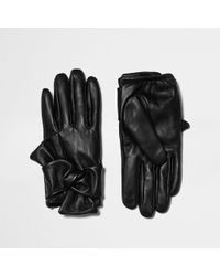 River Island - Leather Bow Driving Gloves - Lyst