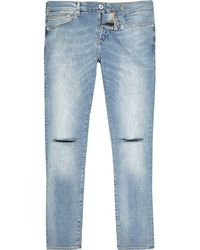 River Island - Blue Danny Ripped Knee Super Skinny Jeans - Lyst