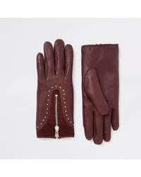 River Island - Dark Leather Studded Zip Gloves - Lyst
