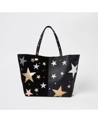 River Island - Leather Star Embroidered Tote Bag - Lyst