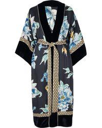 River Island - Navy Floral Print Satin Kimono - Lyst