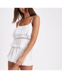 River Island - White Pom Pom Frill Lace Cami Pyjama Top - Lyst