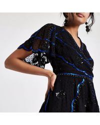 River Island - Embellished Wrap Top - Lyst