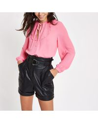 River Island - Bright Pink Frill Blouse - Lyst