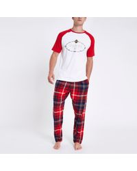 River Island - 'venti' Tartan Check Pyjama Set - Lyst