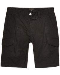 River Island | Black Slim Fit Distressed Cargo Shorts | Lyst