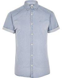 River Island - Light Blue Wasp Muscle Fit Denim Shirt Light Blue Wasp Muscle Fit Denim Shirt - Lyst