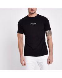River Island - Black Carpe Diem' Slim Fit T-shirt - Lyst
