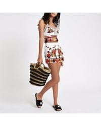 River Island - Cream Aztec Floral Embroidered Shorts - Lyst
