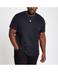 River Island - Big and Tall slim fit black studded T-shirt - Lyst