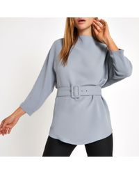 River Island - Loose Fit Belted Top - Lyst
