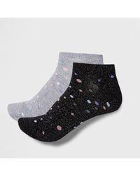 River Island - Silver Spot Sneaker Socks Multipack - Lyst