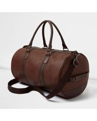 River Island - Faux Leather Holdall - Lyst