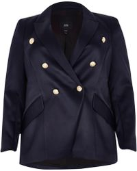 River Island - Plus Navy Double Breasted Tux Jacket - Lyst