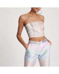 River Island - Pink Ombre Glitter Bandeau Top - Lyst
