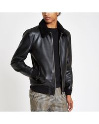 River Island - Fleece Collar Jacket - Lyst
