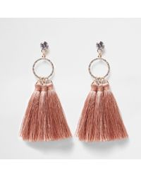 River Island - Pink Tassel Diamante Pave Circle Earrings - Lyst