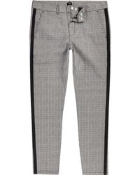 River Island - Big And Tall Grey Check Skinny Fit Chinos - Lyst