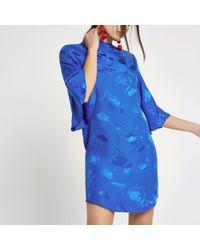 River Island - Blue Jacquard High Neck Swing Dress - Lyst