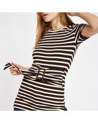 River Island - Stripe Ribbed Belted Top - Lyst