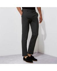 River Island - Grey Skinny Fit Smart Pants - Lyst