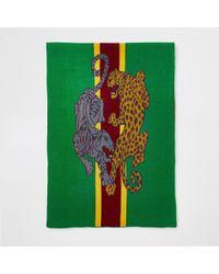 River Island - Green Leopard Print Scarf - Lyst