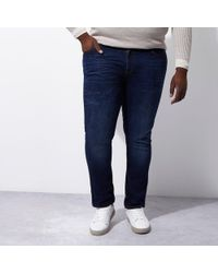 River Island - Big And Tall Dark Dylan Slim Fit Jeans - Lyst