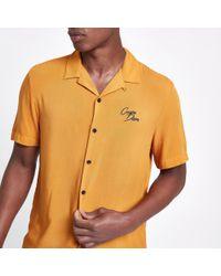 River Island - Yellow 'carpe Diem' Embroidered Shirt - Lyst