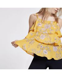 River Island - Petite Yellow Floral Tiered Frill Cami Top - Lyst