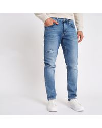 River Island - Mid Blue Dylan Distressed Slim Fit Jeans - Lyst