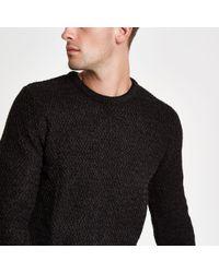 River Island - Black Knit Slim Fit Crew Neck Sweater - Lyst