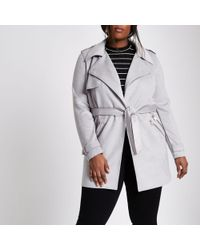 River Island - Plus Grey Faux Suede Longline Trench Jacket - Lyst