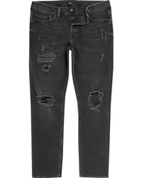 River Island - Dylan Slim Fit Ripped Jeans - Lyst