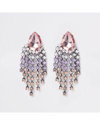 River Island - Pink Silver Tone Jewel Drop Stud Earrings - Lyst