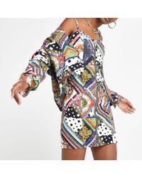 River Island - Multi Print Denim Bodycon Dress - Lyst