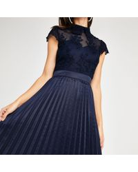 River Island - Chi Chi London Lace Pleated Prom Dress - Lyst