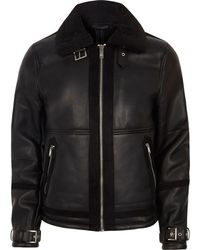 River Island - Black Faux Shearling Aviator Jacket - Lyst