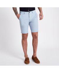 River Island - Blue Slim Fit Oxford Chino Shorts - Lyst