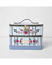 River Island - Blue Stripe Floral Embroidered Vanity Case Blue Stripe Floral Embroidered Vanity Case - Lyst