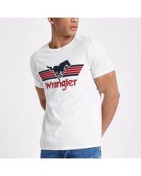 Wrangler - White Graphic Logo Print T-shirt - Lyst