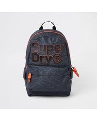 River Island - Superdry Dark Grey Front Logo Backpack - Lyst