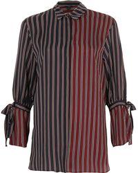 River Island - Navy Stripe Tie Sleeve Shirt - Lyst